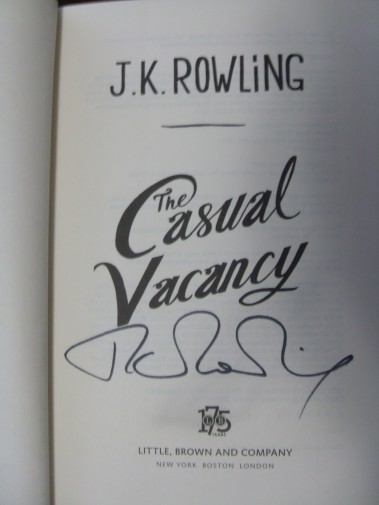 Autographed copy of Casual Vacancy