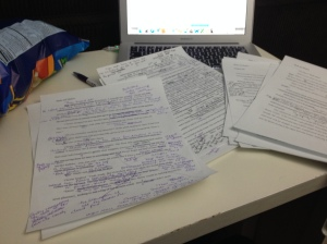 This is what revising looks like. Lot's of words in the margins and arrows and cross outs.